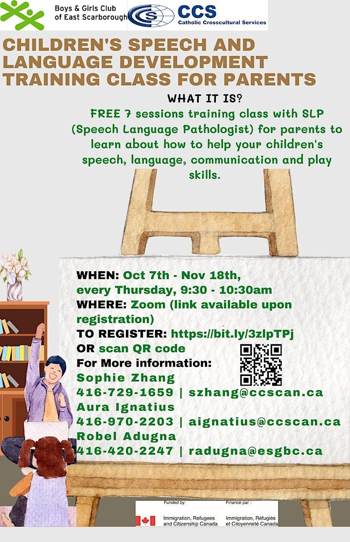 Children's speech and language development training class for parents image