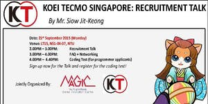 KOEI TECMO SINGAPORE: RECRUITMENT TALK