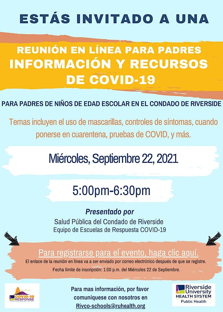 Seminario web sobre COVID-19 para padres de niños del condado de Riverside image
