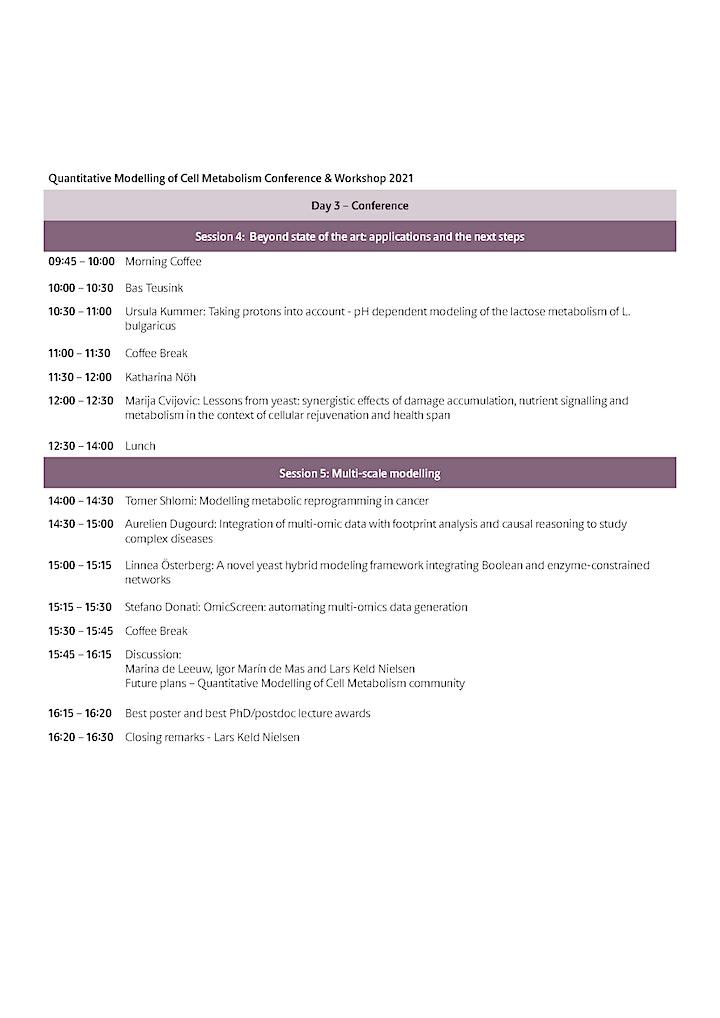 Quantitative Modelling of Cell Metabolism Conference & Workshop image