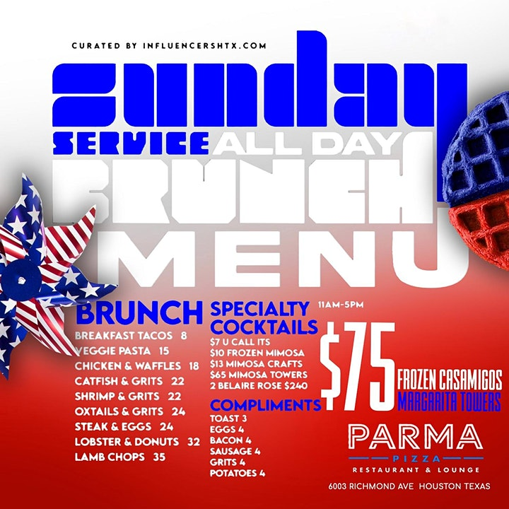 SUNDAY SERVICE HOUSTON at PARMA PIZZA RESTAURANT & LOUNGE - RSVP NOW! image