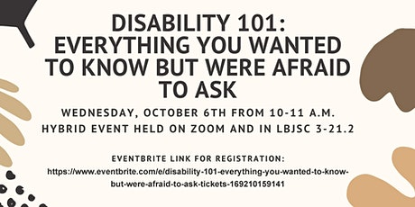 Disability 101- Everything You Wanted To Know But Were Afraid To Ask tickets
