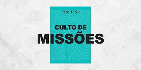 CULTO DE MISSÕES - 9H | KIDS 4 À 12 ANOS ingressos