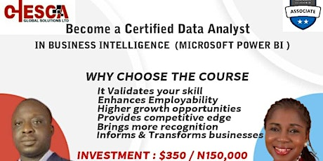 Become a Certified Data Analyst IN BUSINESS INTELLIGENCE,MICROSOFT POWER BI tickets