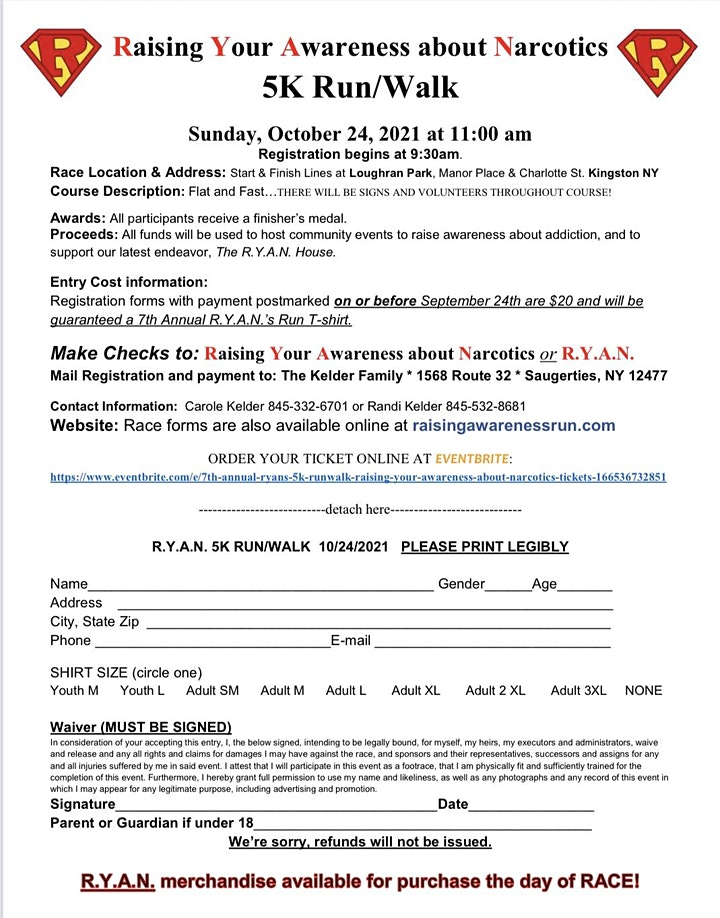 7th Annual R.Y.A.N.s 5K Run/Walk - Raising Your Awareness about Narcotics image