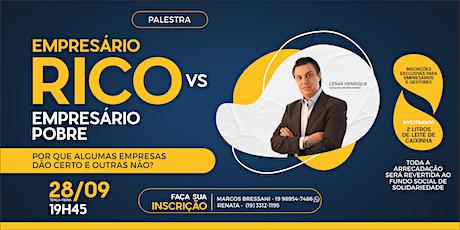 Palestra: Empresário Rico x Empresário Pobre ingressos