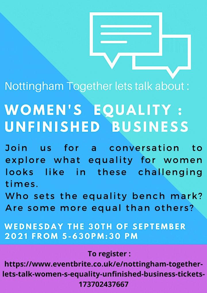 Nottingham Together - lets talk.  Women s Equality : Unfinished business image