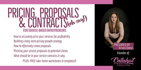 Pricing, Proposals & Contracts for Service Based Entrepreneurs tickets
