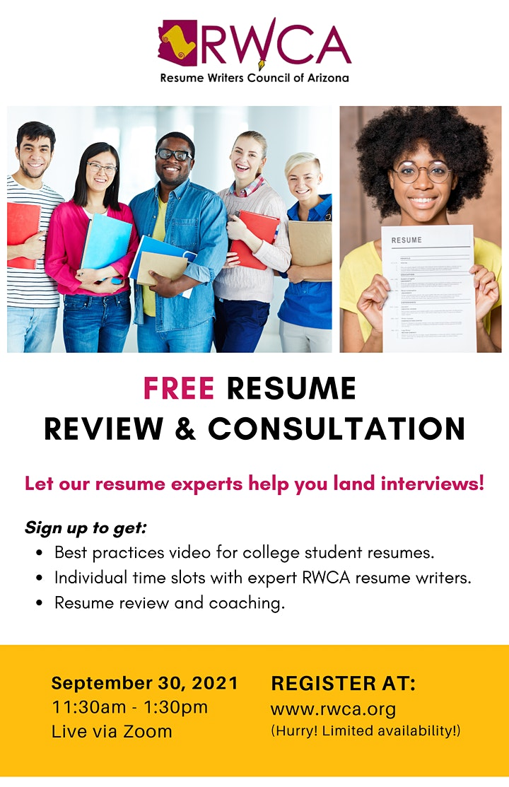 Free Resume Review & Consultation with RWCA (AZ College Students Only) image