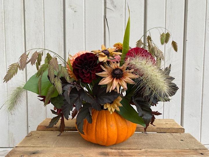 Thanksgiving/Fall Floral Pumpkin Centerpiece image