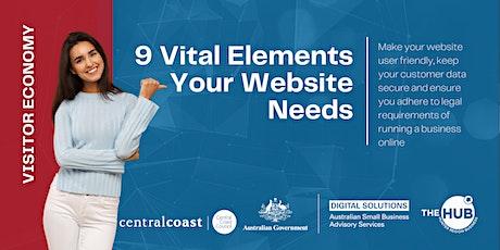 9 Vital Elements Your Website Needs - Webinar tickets