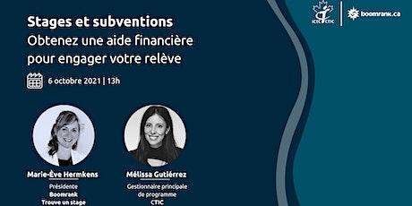 Stages et subventions: Obtenez une subvention pour engager votre relève billets