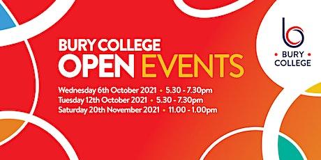 Bury College Open Event - Quiet Hour tickets