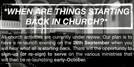 Organisation Re-launch Evening - 26th September 2021 @ 18:30pm tickets