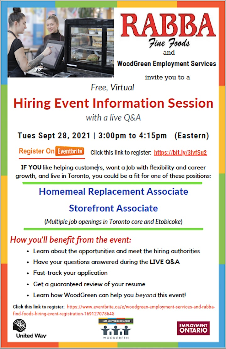 WoodGreen Employment  Services and RABBA Fine Foods -   Hiring Event image