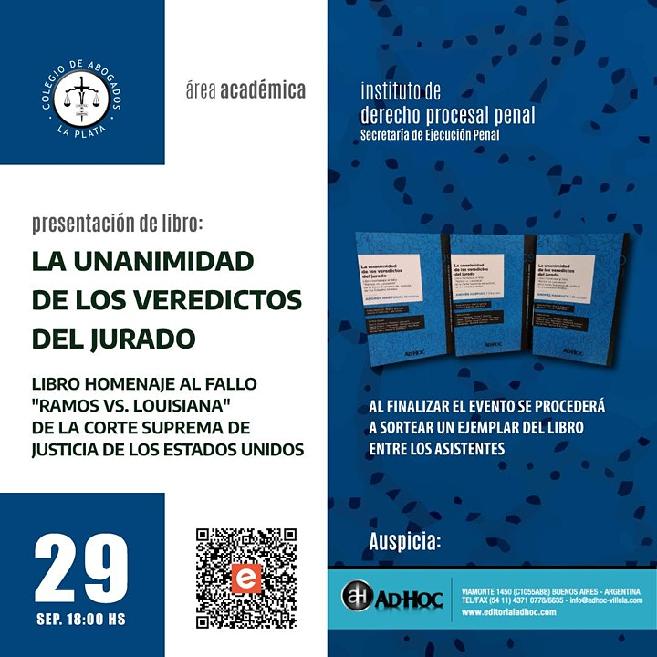 """Imagen de Presentación del libro """"La unanimidad de los veredictos del jurado"""""""