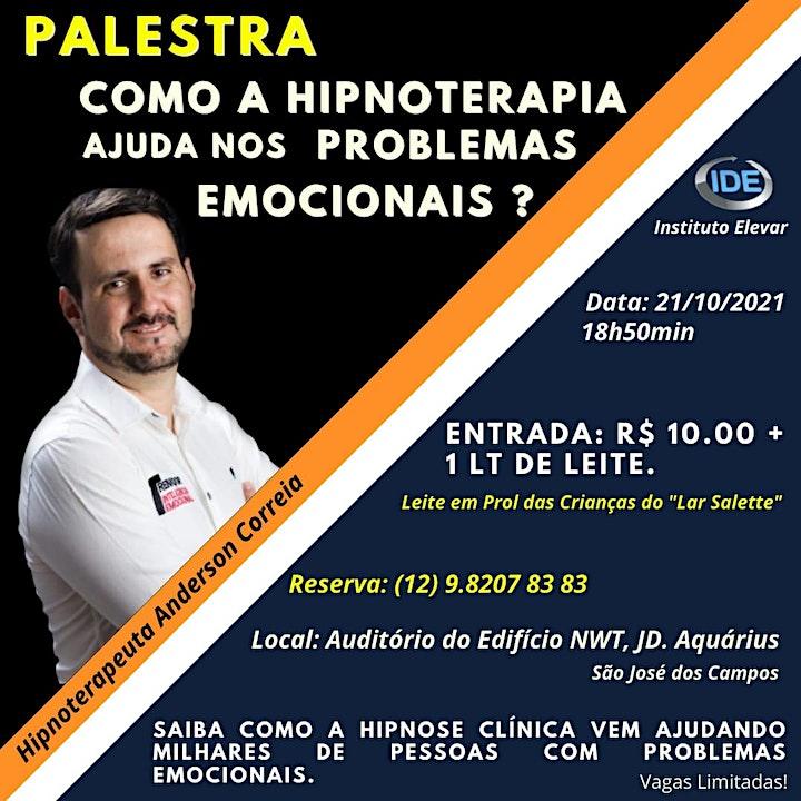 Imagem do evento PALESTRA: Como a Hipnoterapia pode ajudar  nos Problemas Emocionais?