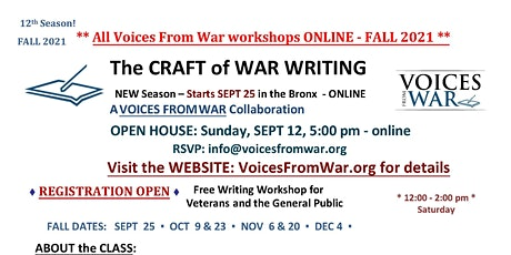 The CRAFT of WAR WRITING - Online Writing Workshop for Veterans & the Gener tickets
