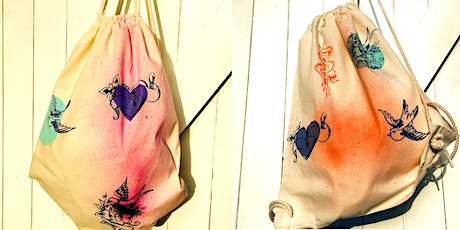 Children's printed drawstring bag for Craft Month tickets