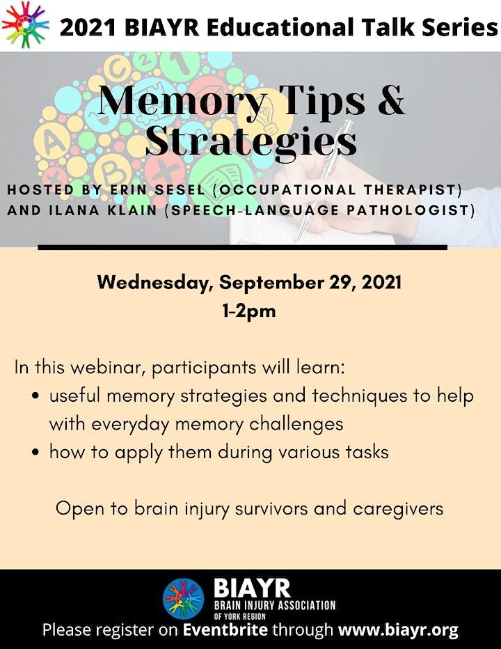 Memory Tips & Strategies - 2021 BIAYR Educational Talk Series image