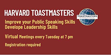 Harvard Toastmasters Virtual Meeting Tuesday, Sept 21 2021 tickets