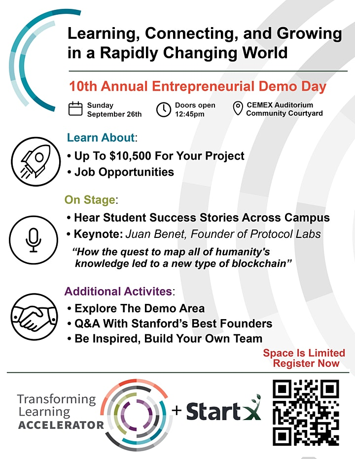 Stanford Transforming Learning Accelerator + StartX Demo Day 2021:FREE FOOD image