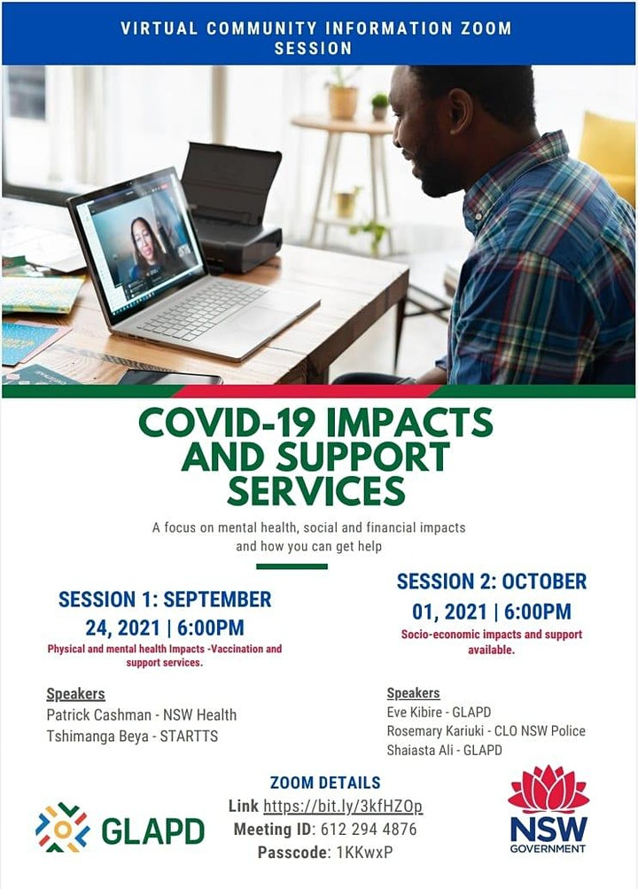 VIRTUAL COMMUNITY INFO SESSIONS - COVID-19 IMPACTS AND SUPPORT SERVICES. image