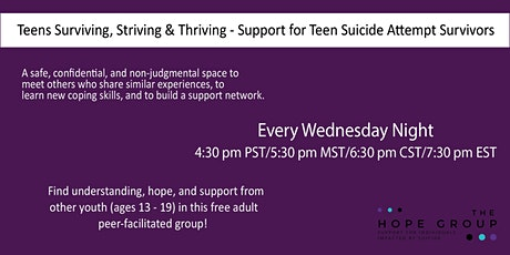 Teen Suicide Attempt Survivor / Youth With Suicidal Thoughts Support Group tickets
