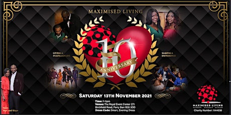 Maximised Living 10 Year Anniversary tickets