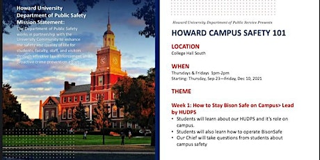 Howard University  Safety 101 Sessions tickets
