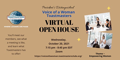 Voice of a Woman  Toastmasters Club - Fall 2021 Virtual Open House tickets