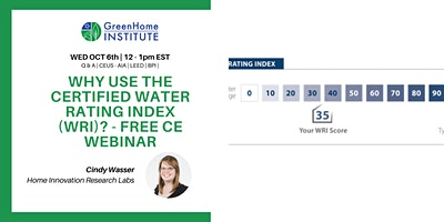 Why use the Certified Water Rating Index (WRI)? – Free CE Webinar