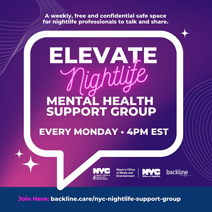 ELEVATE Nightlife Mental Health Support Group Mondays at 4pm image