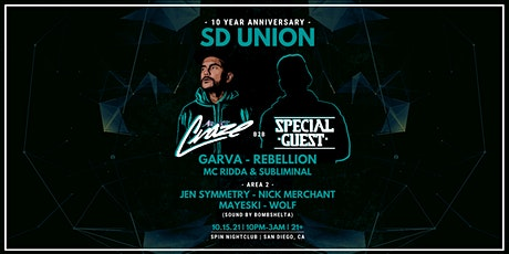 SD UNION 10YR Anniversary w/ DJ Craze & Special Guest tickets