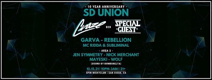 SD UNION 10YR Anniversary w/ DJ Craze & Special Guest image