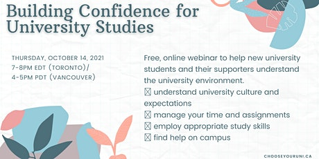 Building Confidence for University Studies tickets