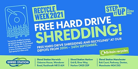 Recycle Week 2021 - Free Shredding for Hard Drives - 20th-24th September tickets