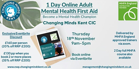 1 day online Mental Health First Aid Champion tickets