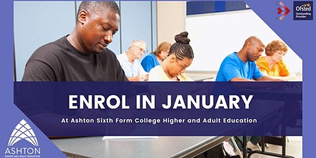 January enrolment for adult learners at Ashton Sixth Form College tickets
