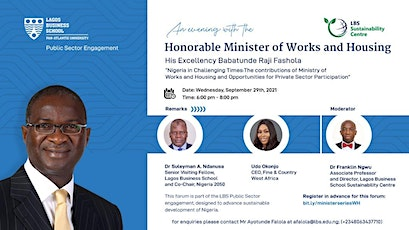 An Evening With the Minister of House Works and Housing tickets