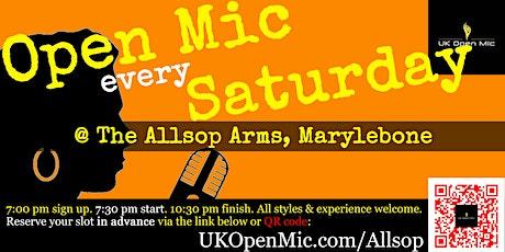 UK Open Mic @ Allsop Arms in Marylebone / Baker Street / Regent's Park tickets