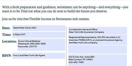 Flexible  Income In Retirement tickets