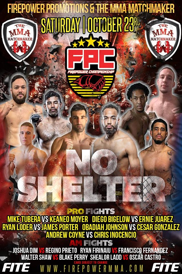 """NO SHELTER""  Live Pro/Am MMA Event image"