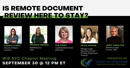 IS REMOTE DOCUMENT REVIEW HERE TO STAY? tickets