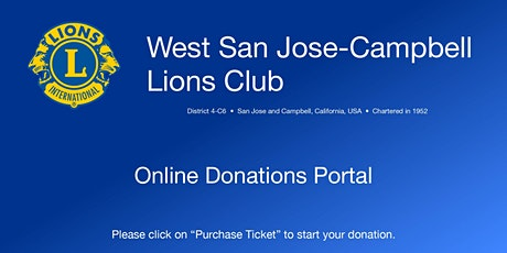 Donation to West San Jose-Campbell Lions Club tickets