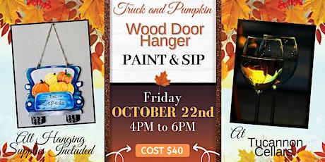 Truck and Pumpkins Wooden Door Hanger Paint and Sip tickets