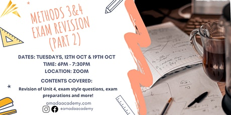 Maths Methods 3&4 Exam Revision Part 2 tickets