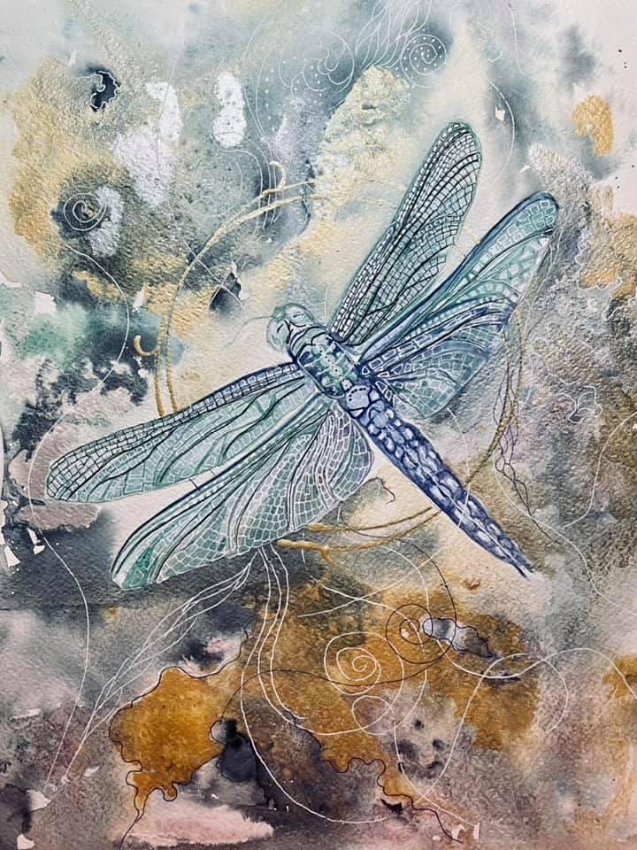 The Friday Gallery Watercolour painting online class: Dragonfly image