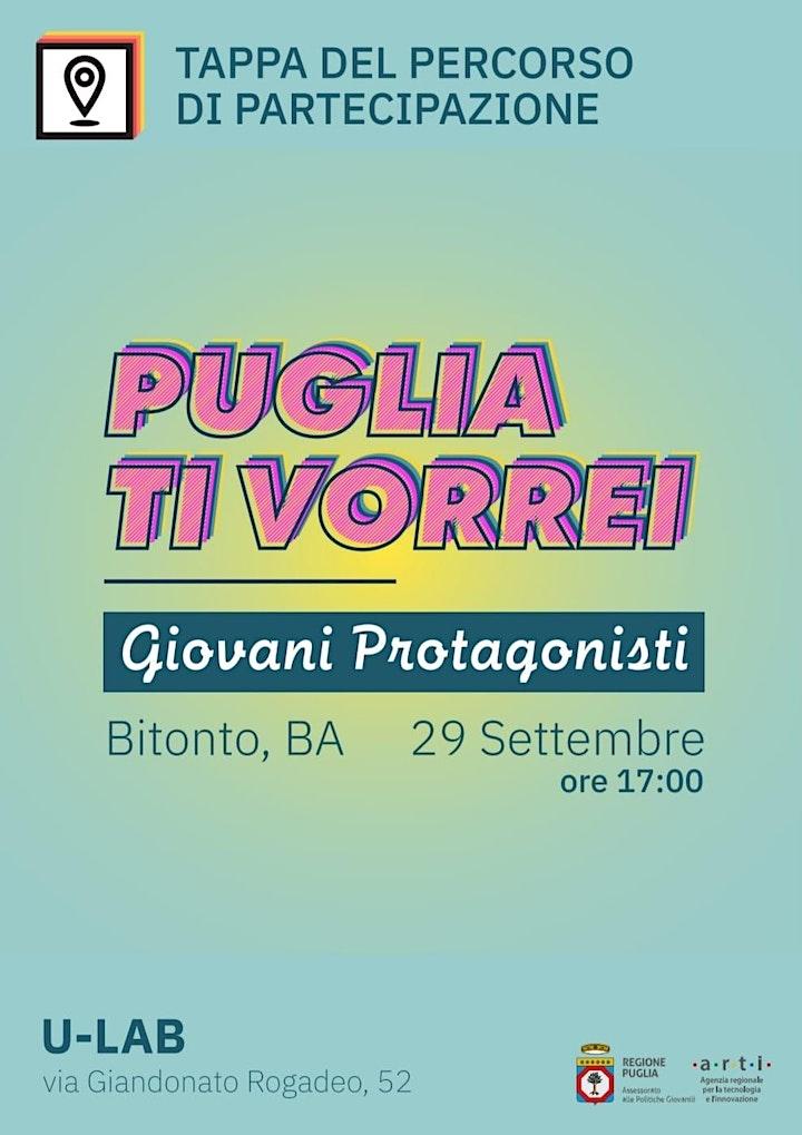 Immagine Puglia ti vorrei – Tappa percorso di partecipazione Politiche Giovanili Pug