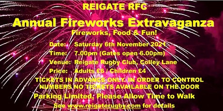 Reigate RFC Fireworks 2021 tickets